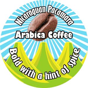 Label for Nicaraguan Pacamara roasted by Real Deal Roasters