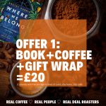 Where We Belong, book by Anstey Harris plus coffee from Real Deal Roasters