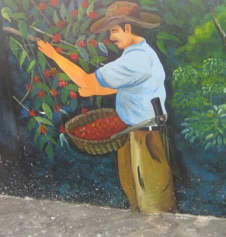 El Salvador mural of cofeee picker